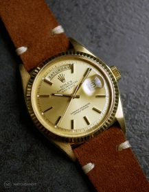 Rolex Day-Date an braunen Wildlederarmband von WB Original