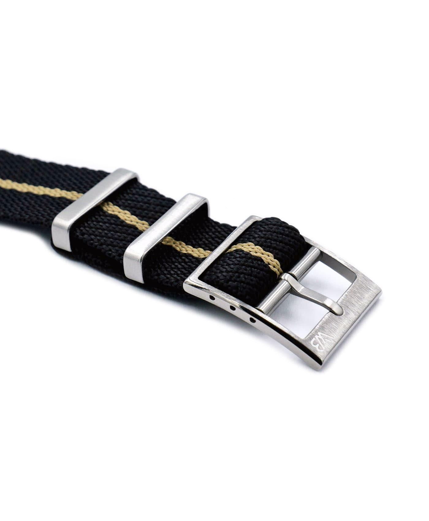 Adjustable NATO strap black beige buckle