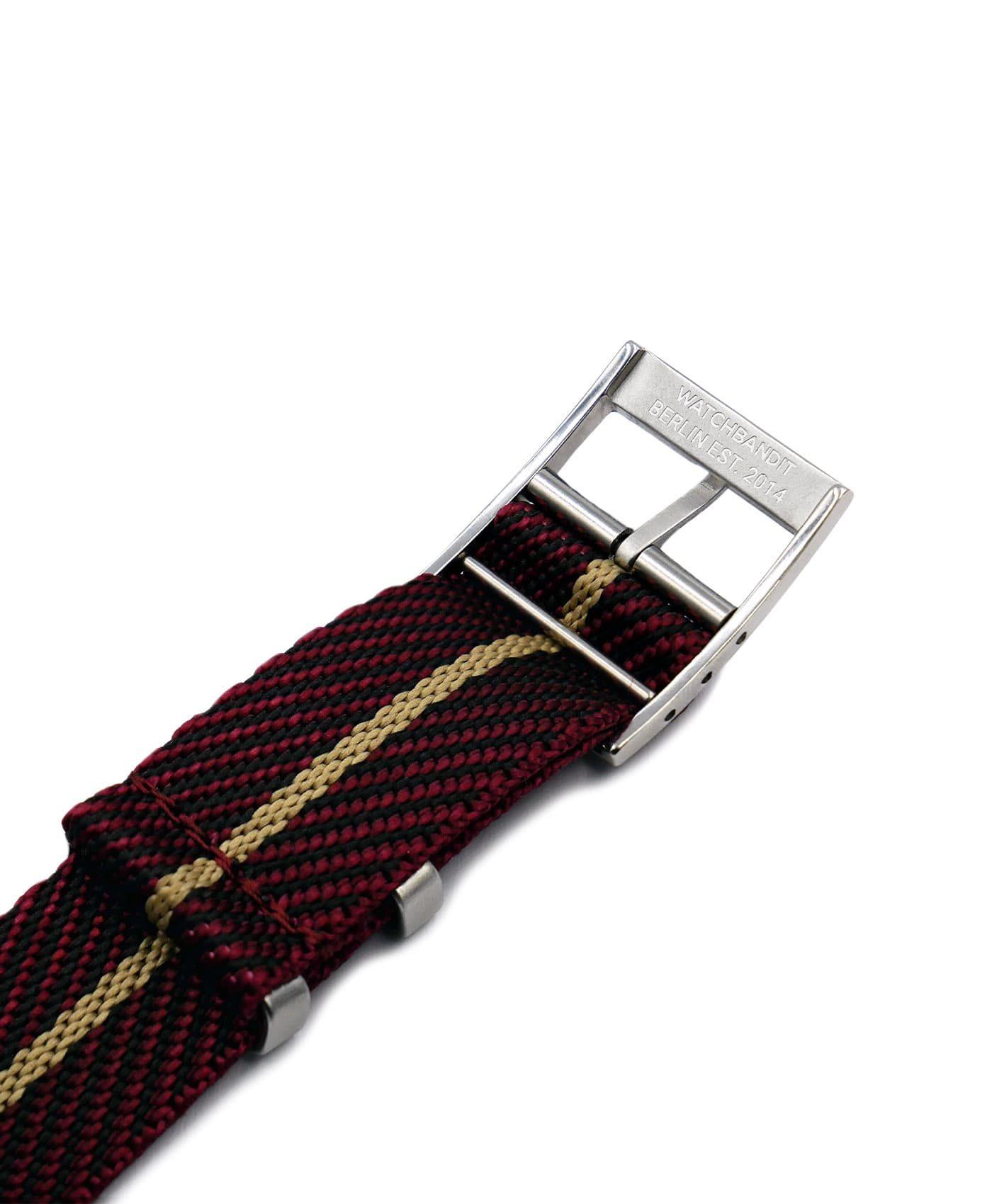 Adjustable NATO strap burgundy beige engraved buckle