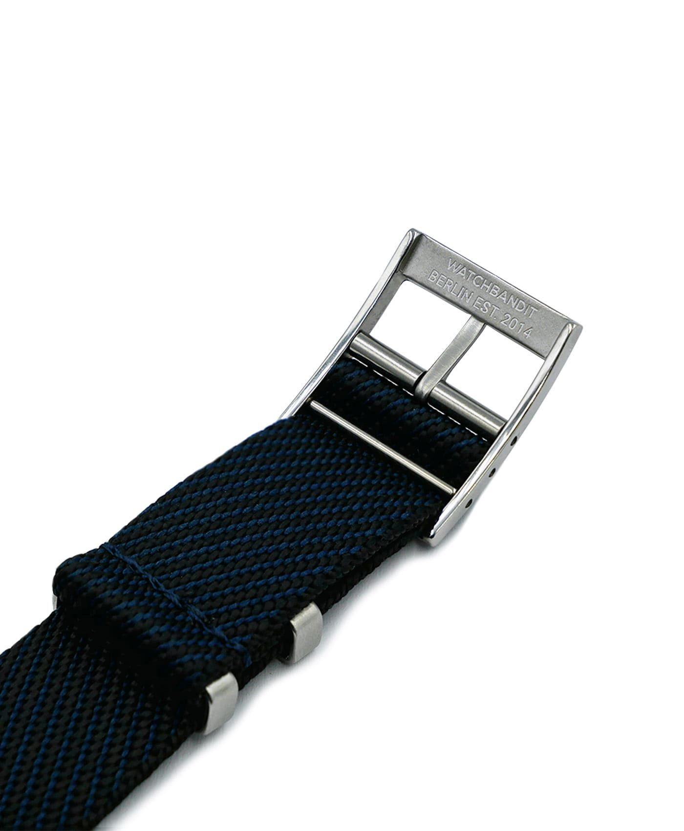 Adjustable NATO strap dark blue black engraved buckle