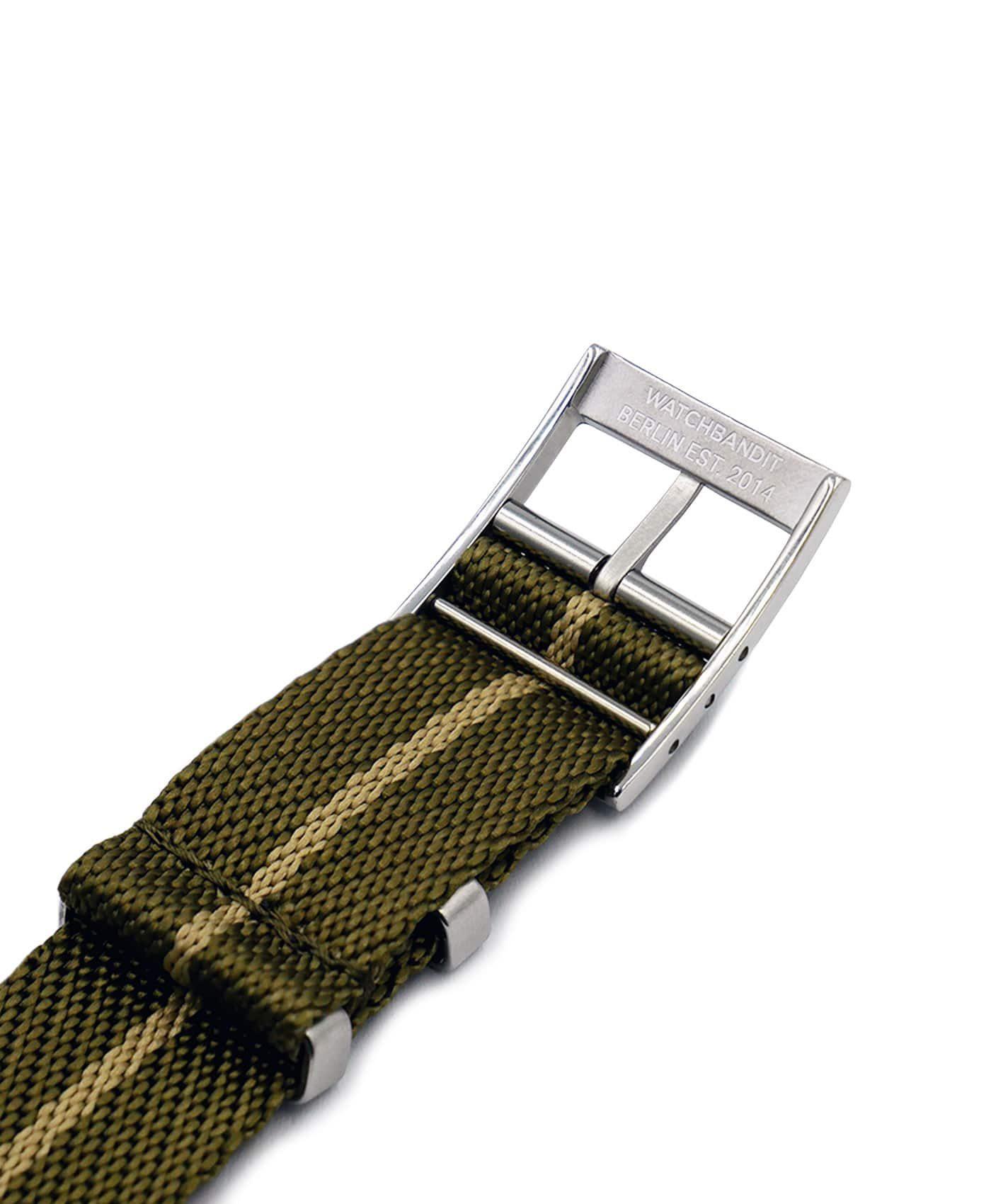 Adjustable NATO strap khaki beige engraved buckle