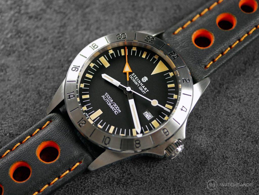 Steinhart Ocean Vintage GMT Orange Schwarz Barington Racing Leder Uhrenarmband