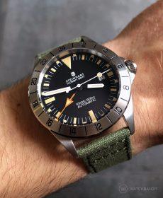 Steinhart Ocean Vintage GMT Uhrenarmband olivgrün canvas leinen armband watchbandit
