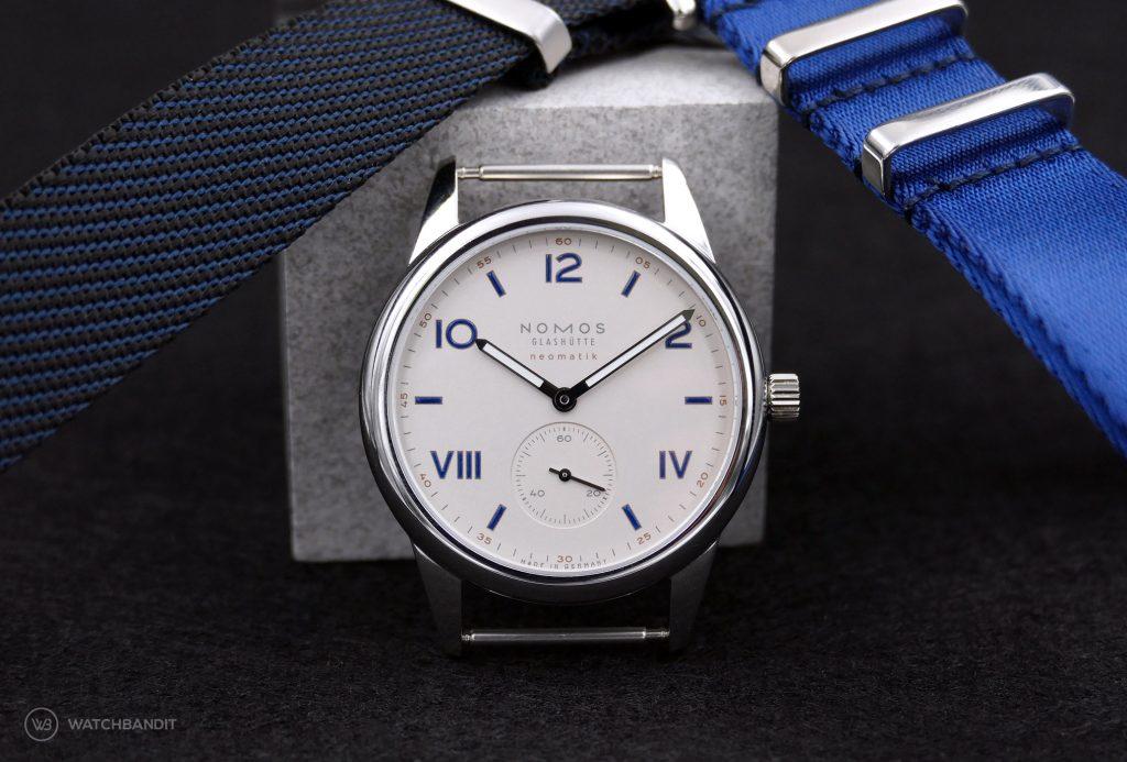 NOMOS Club Campus Neomatik 39 Ref. 765, white silver dial and NATO watchbandit straps