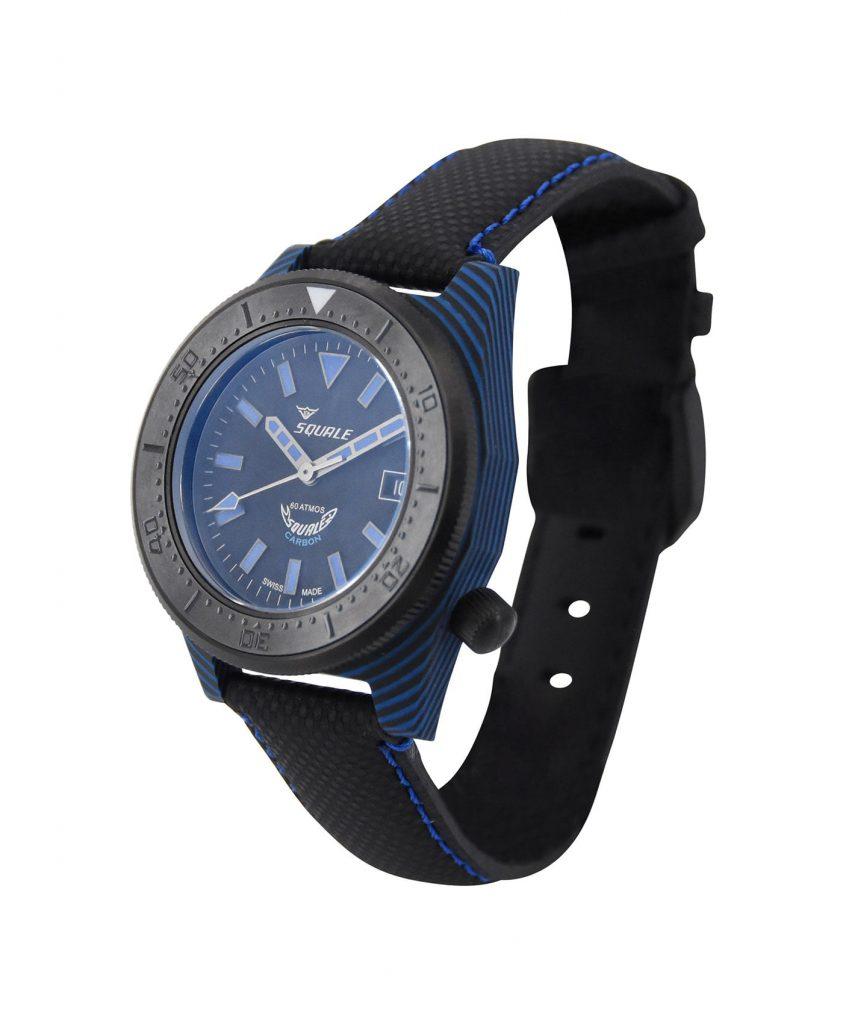 Squale T183 Diver blue black carbon fiber case right side