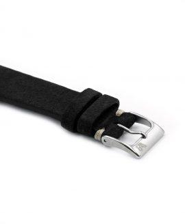 WB Original black suede watch strap buckle side