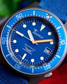 Squale 1521 Series 026 A Sandblasted Ocea Watchbandit blue canvas strap