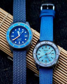 Squale 1521 Series 026 ONDA AQUA and 026 A Sandblasted Ocea Watchbandit canvas strap Eulit perlon strap