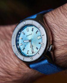 Squale 1521 Series 026 ONDA AQUA on blue Watchbandit Canvas strap