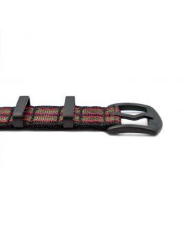 NATO strap black PVD hardware black green red stribed james bond buckle Watchbandit