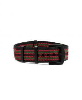 NATO strap black PVD hardware black green red stribed james bond Watchbandit