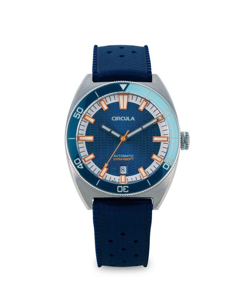 Circula watch AquaSport STP 1-11 Rubber Strap Dark Blue with sunray dial