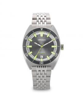AquaSport, Caliber STP 1-11, Steel Strap, Grey Green with relief lines dial