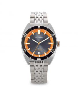 AquaSport, Caliber STP 1-11, Steel Strap, Grey Orange with sunray dial