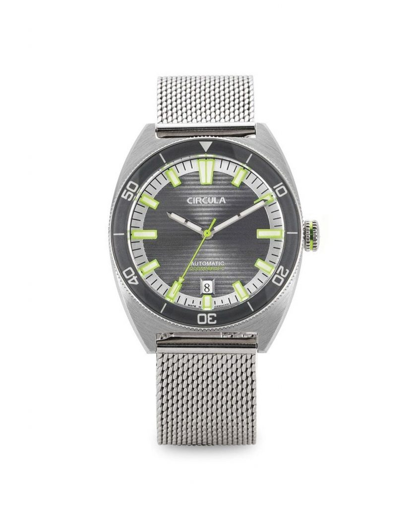 AquaSport, Milanaise Mesh band, Grey Green with relief lines dial