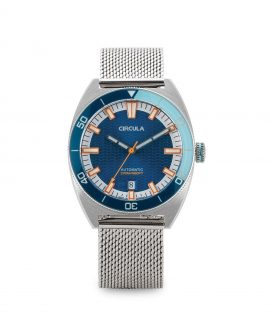 AquaSport, Milanaise Mesh band, Rubber Strap Blue White with relief wave dial