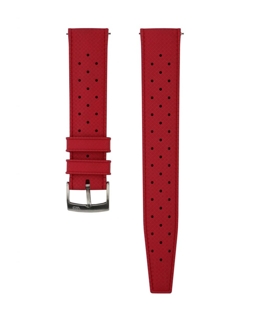 Tropical Rubber watch strap_Red_Front