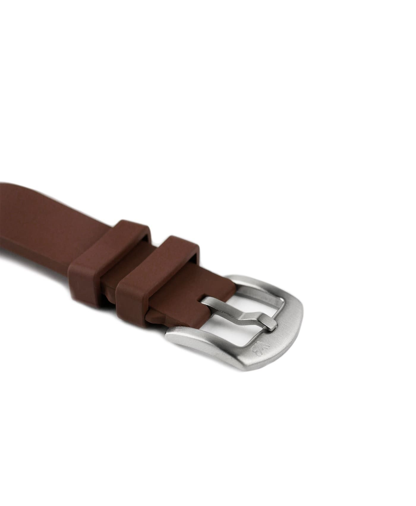 Classic plain Rubber watch strap_Brown_buckle