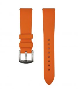 Classic plain Rubber watch strap_Orange_Front