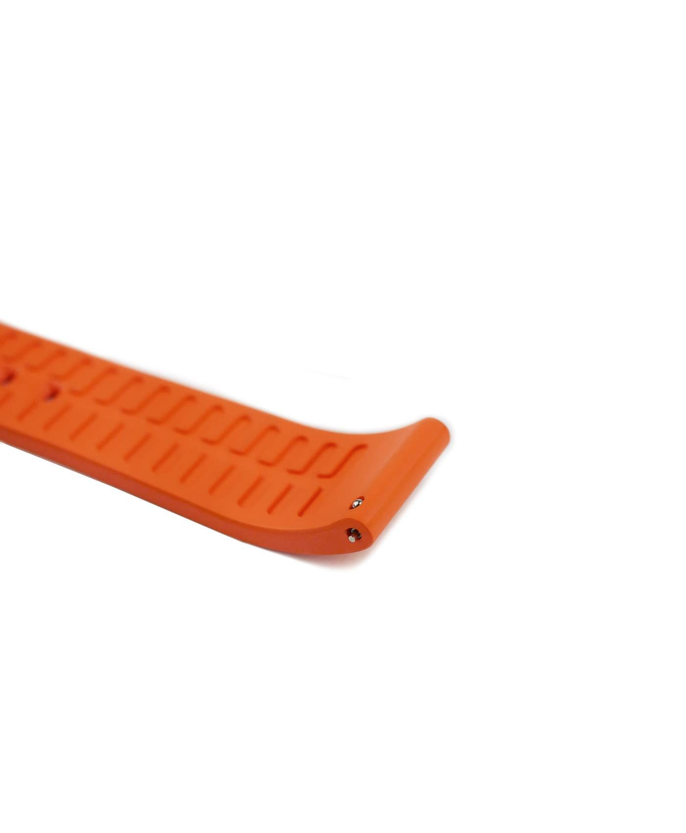 Classic plain Rubber watch strap_Orange_side curved