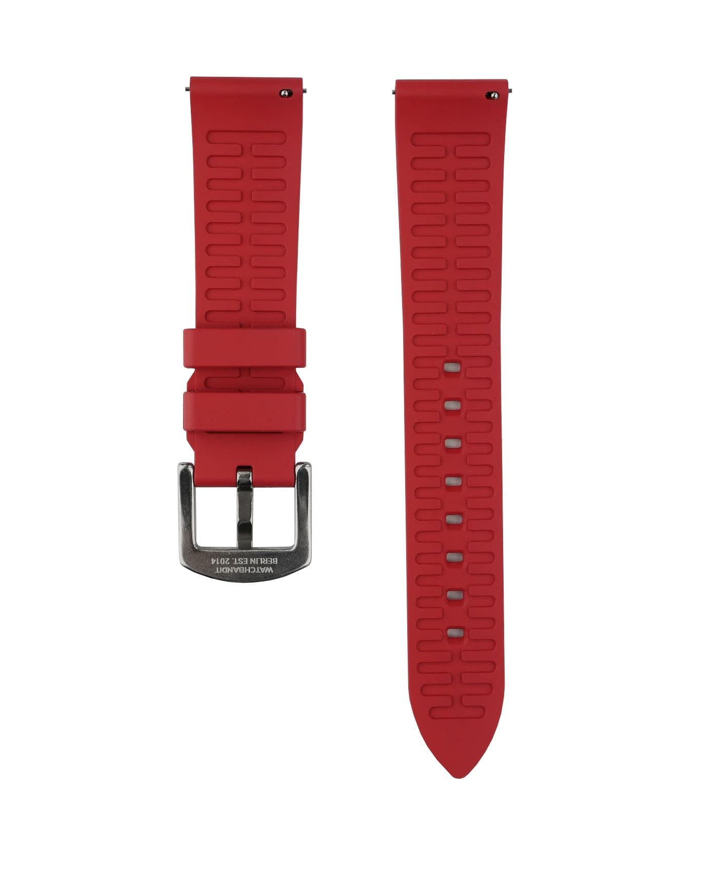 Classic plain Rubber watch strap_Red_Back