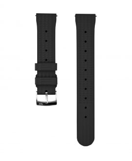 Waffle Rubber watch strap_Black_Front