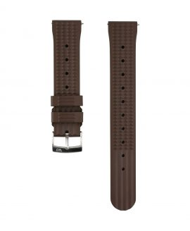 Waffle Rubber watch strap_Brown_Front
