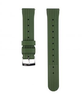 Waffle Rubber watch strap_Green_Front