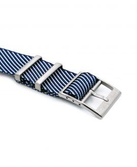 Adjustable dark blue-white Nato-straps buckle