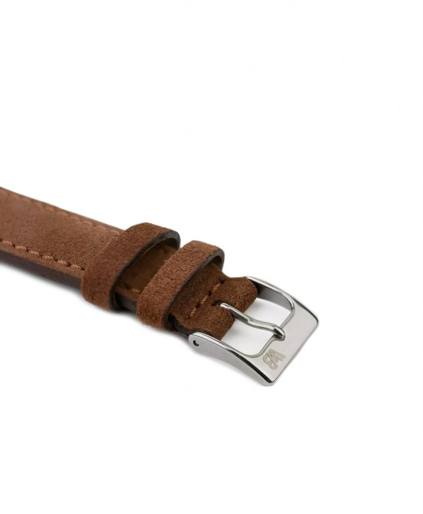 Suede leather strap with side seam_brown_side buckle