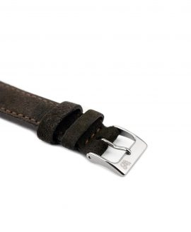 Suede leather strap with side seam_dark brown_side buckle