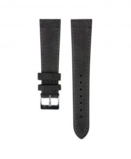Suede leather strap with side seam_dark grey_front