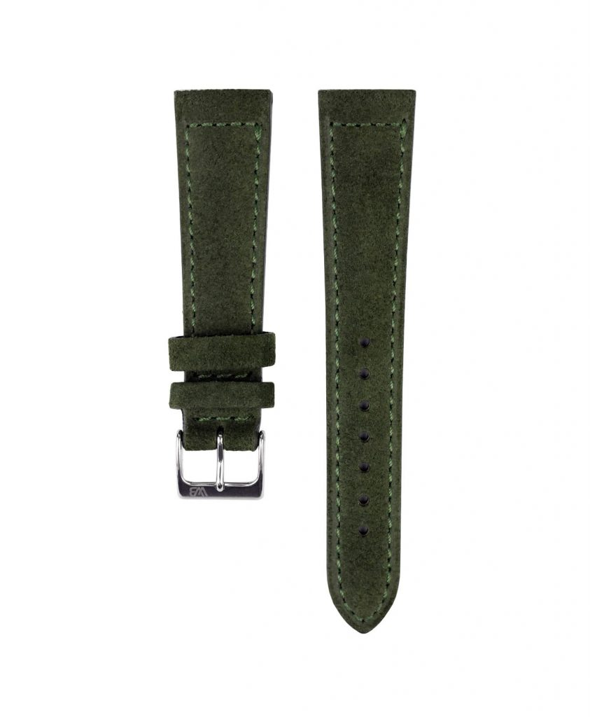 Suede leather strap with side seam_green_front