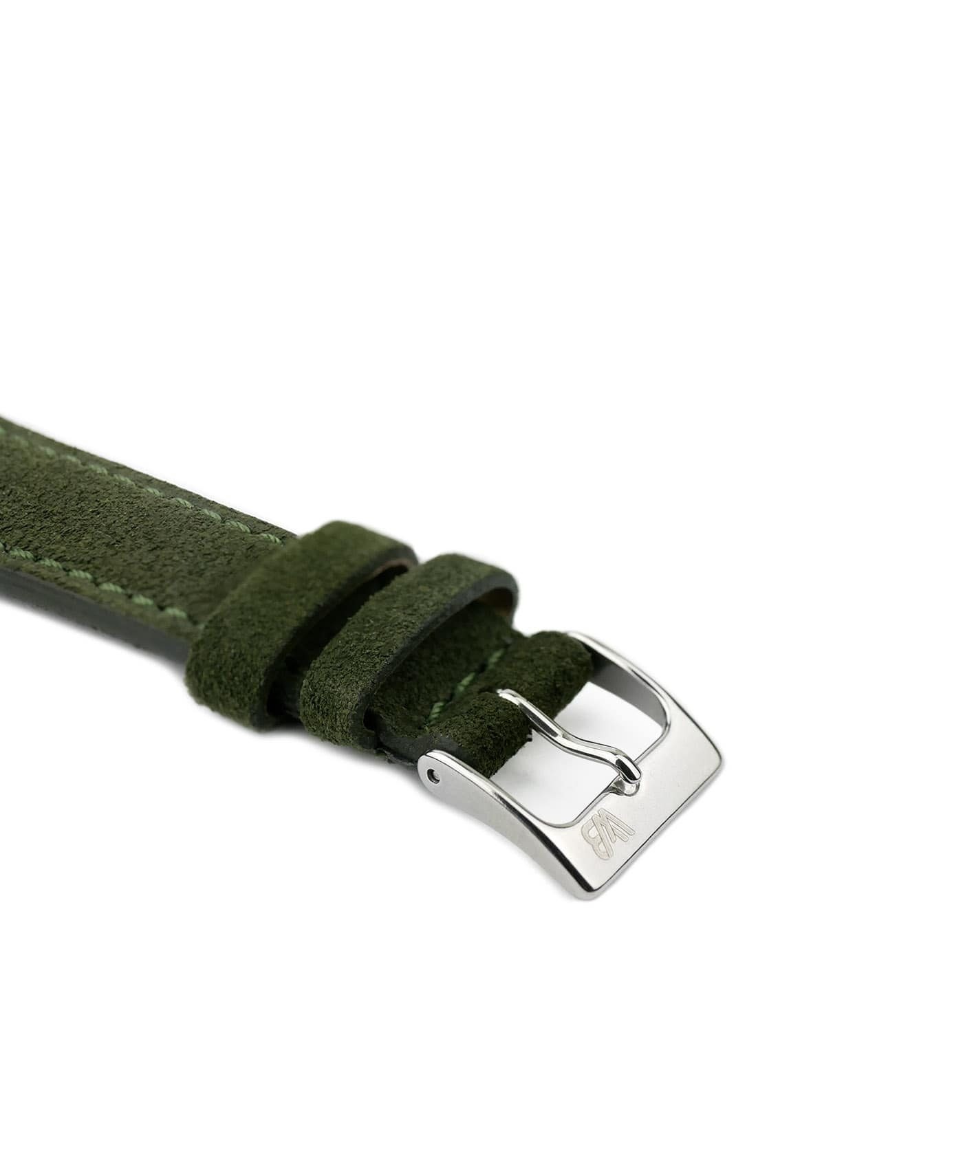 Suede leather strap with side seam_green_side buckle
