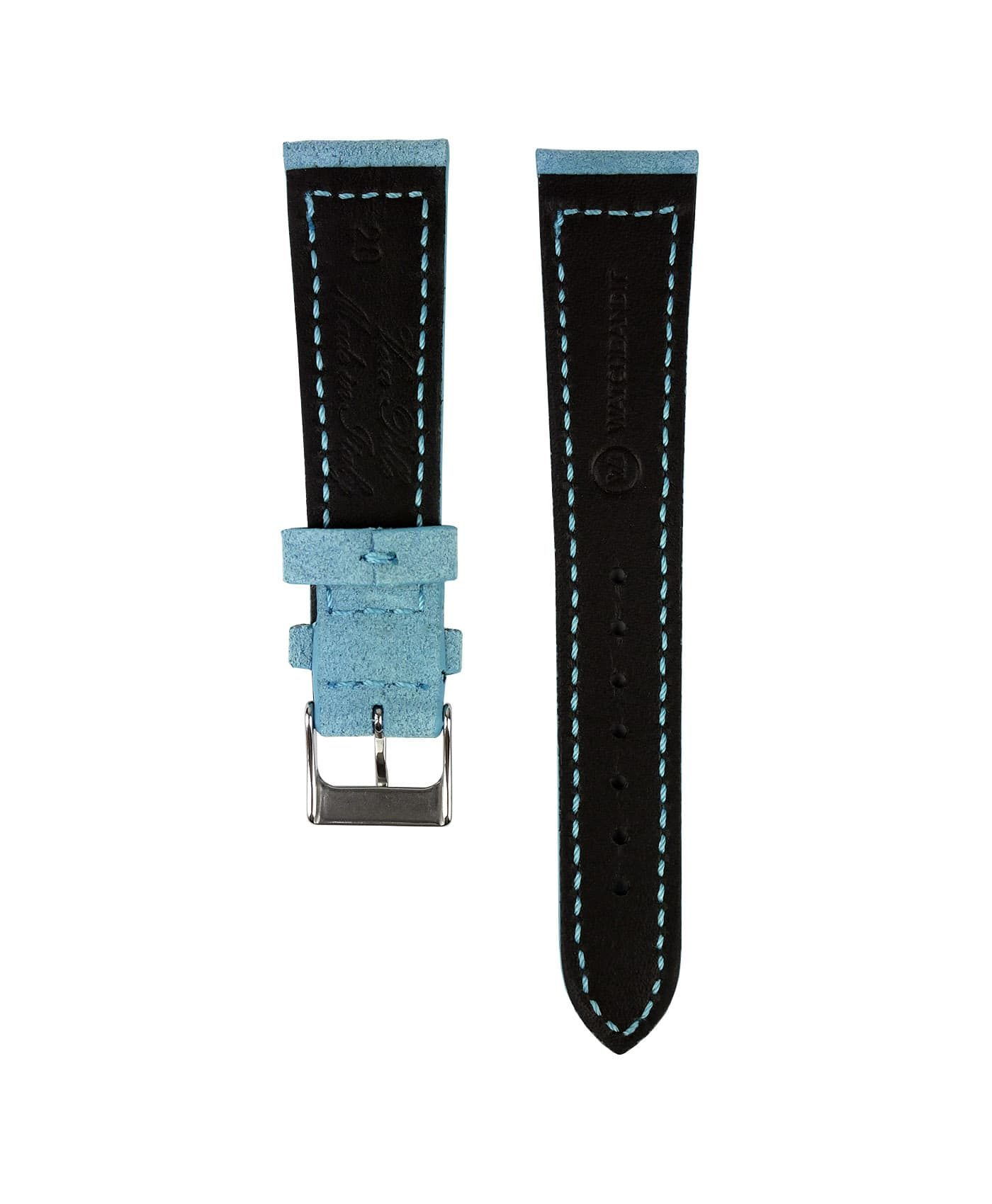 Suede leather strap with side seam_light blue_back
