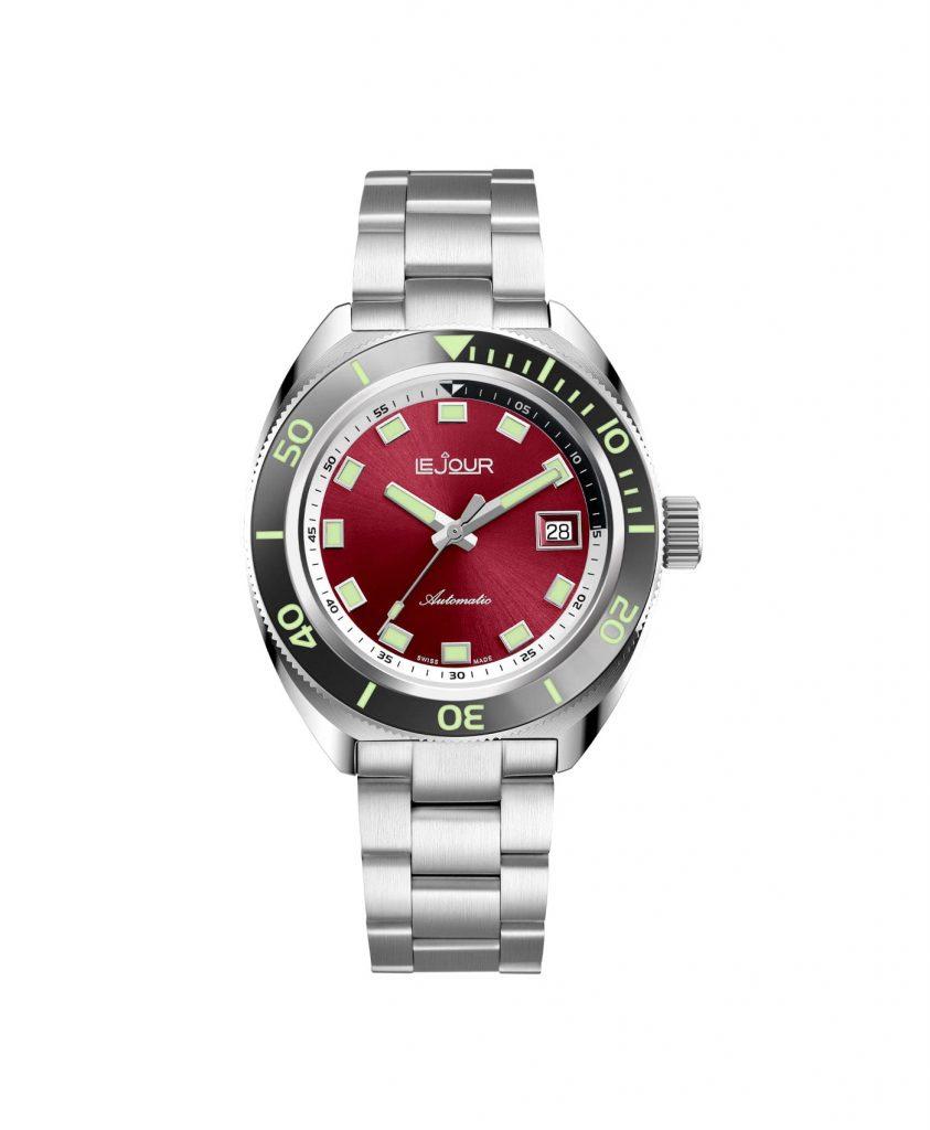 LJ-HH-005 red sunburst dial front