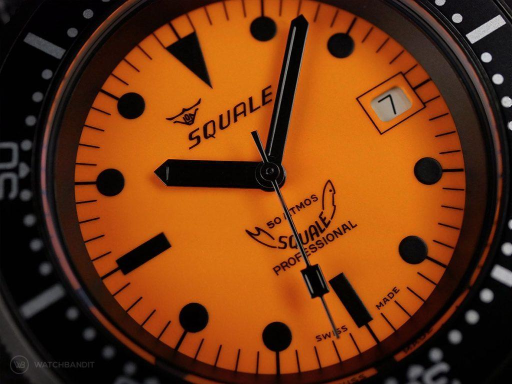 Squale-Luminoso Arancia PVD-dial close up