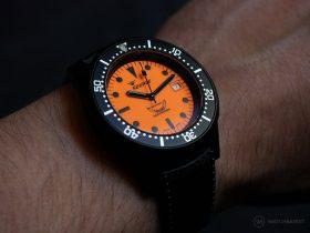Squale-Luminoso Arancia PVD-wrist shot