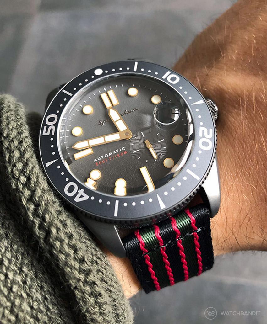 Spinnaker Croft James Bond two piece NATO Strap by Watchbandit