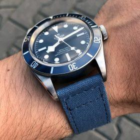 Tudor Heritage Black Bay Blue Canvas Uhrenarmband blau