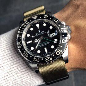 Rolex GMT Master II am khaki 1.2 mm NATO Uhrenarmband von Watchbandit