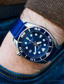 Seiko Taucheruhr am blauen WB Original zweiteiligen NATO Armband by @mymechanicalwrist