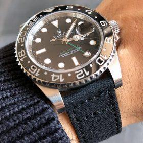 Rolex GMT Master II am schwarzen Canvas Uhrenarmband von Watchbandit