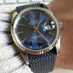 Rolex Datejust 16234 grey WB Original perlon strap wristshot