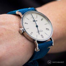 NOMOS Tangente ocean blue suede by WB Original wristshot
