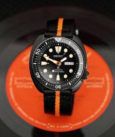 Seiko Turtle PVD Black two piece nato strap watchbandit