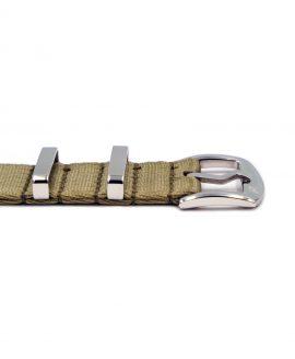 Premium 1.2 mm seat belt NATO Strap beige buckle by WatchBandit