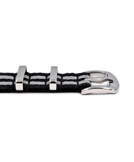Premium 1.2 mm seat belt NATO Strap black grey striped buckle by WatchBandit