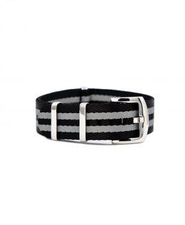 Premium 1.2 mm seat belt NATO Strap black grey striped front by WatchBandit