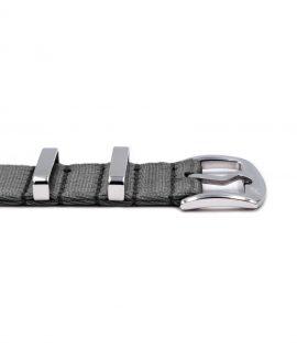 Premium 1.2 mm seat belt NATO Strap grey buckle by WatchBandit